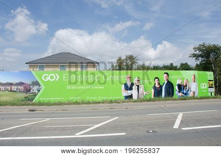 Elmstead Essex United Kingdom -17 July 2017: Large advertising hoarding for rural residential development