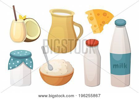 Fresh organic milk products set with cheese.