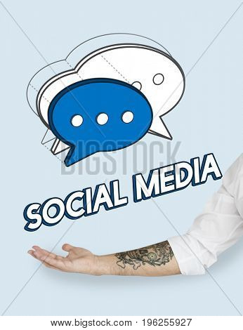 Hand Chat Bubble Message Social Media Graphic