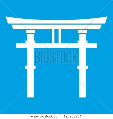 Japanese torii icon white isolated on blue background vector illustration