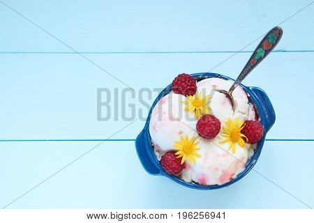 Aerial View On Ice Cream In A Bowl