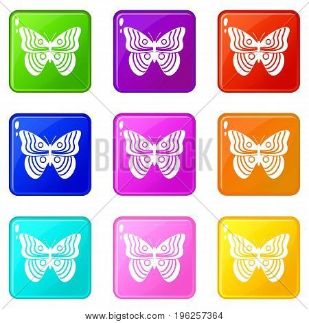 Stripped butterfly icons of 9 color set isolated vector illustration