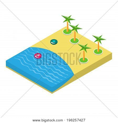 Isometric illustration of a beach with palm trees. Vector illustration