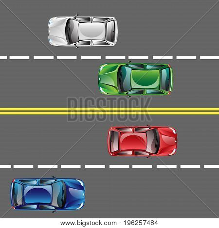 Different cars top view position set on the road. Flat Design Style. Vector illustration