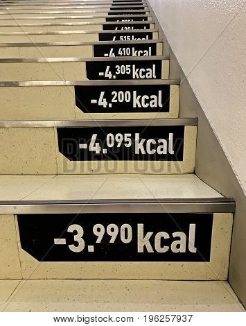 Fun way to measure weight loss by using these stairs to go upstairs knowing how many kilo calories you loose on each step.