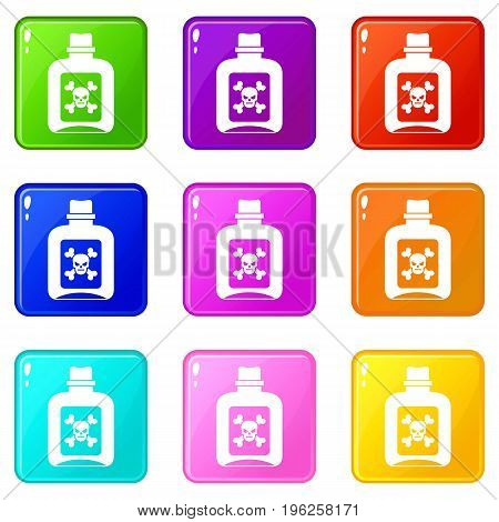 Poison icons of 9 color set isolated vector illustration