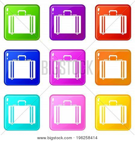 Diplomat icons of 9 color set isolated vector illustration