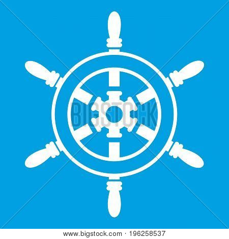 Wheel of ship icon white isolated on blue background vector illustration