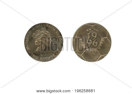 Bangkok, Thailand - July 18, 2017 : £2 Coin - Football European Championship 1996 on white background.