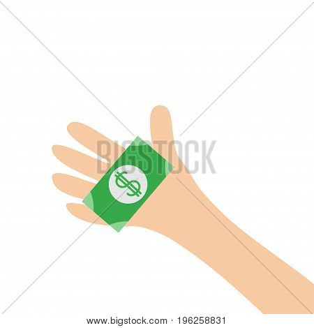 Hand arm holding paper money dollar sign. Helping hands concept. Close up body part. Business donation. Flat design style. White background. Isolated. Vector illustration