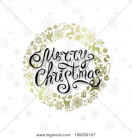 Christmas greeting card with golden ornamental design elements and lettering wishes. Holiday background with luxury round frame from decorations.