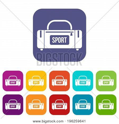 Large sports bag icons set vector illustration in flat style in colors red, blue, green, and other