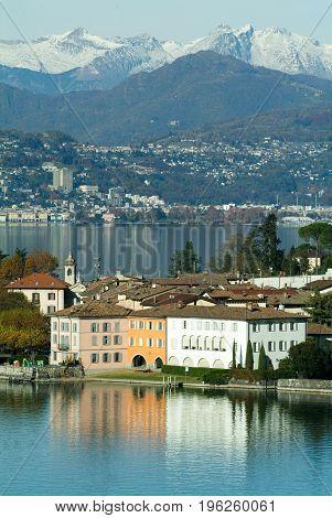 The Village Of Bissone On Lake Lugano