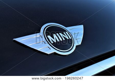 An Image of a mini cooper logo - Hameln/Germany - 07/18/2017
