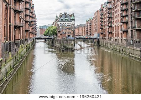 Hamburg, Germany - Popular Water Castle in the warehouse district Hamburg during the day