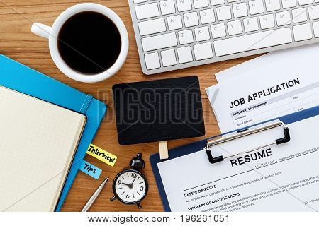 Job Search With Blank Sign On Computer Desk