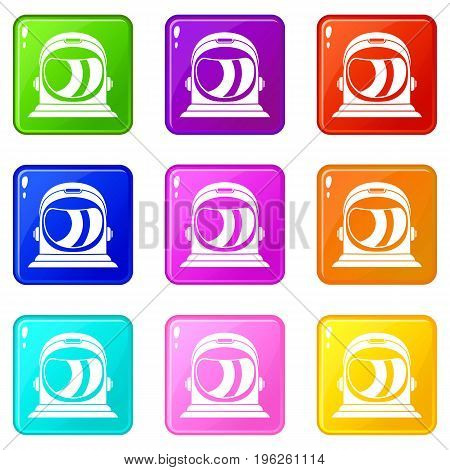 Space helmet icons of 9 color set isolated vector illustration