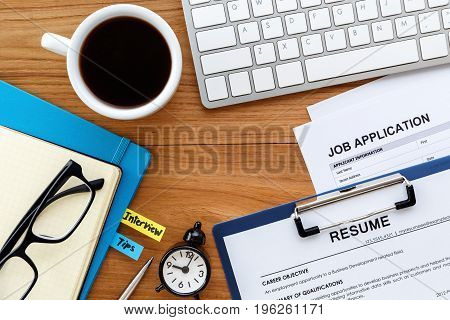 Job Search With Wood Desk Background