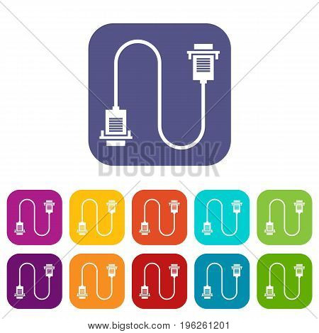 Cable wire computer icons set vector illustration in flat style in colors red, blue, green, and other