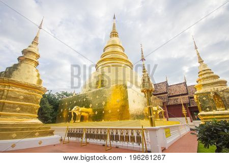 Golden pagodas at Wat Phra Singh Temple Chiang Mai