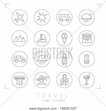 Outline travel line icons set in circles. Airplane sun bus cloud horizon mountains yacht hotel rent car luggage do not disturb message ionic column palms map with points cocktail and ice cream.