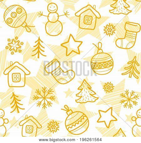 Christmas white background, yellow outline drawings, seamless, vector. Christmas balls, boots, stars and snowmen drawn with thin yellow lines on white background.