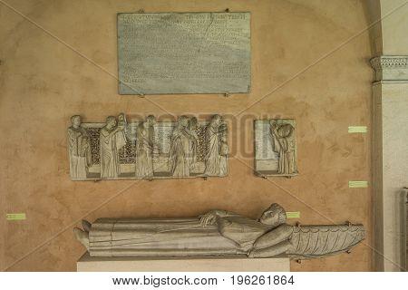 Details of Lateran cloiester in Basilica di San Giovanni in Laterano (St. John Lateran basilica) in Rome. Italy Rome June 2017