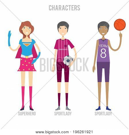 Character Set include sportlady and superhero | set of vector character illustration use for human, profession, business, marketing and much more.The set can be used for several purposes like: websites, print templates, presentation templates, and promoti