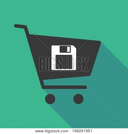 Long Shadow  Shopping Cart With A Floppy Disk