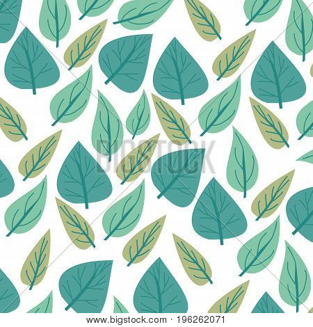 white background with colorful pattern of cordiform leaves vector illustration