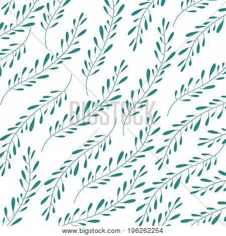 white background with colorful pattern of branches with ovoid leaves vector illustration