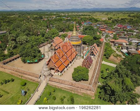 Side Aerial view of Wat Phra That Lampang Luang a landmark of Lampang city Thailand