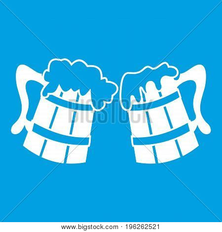 Wooden beer mugs icon white isolated on blue background vector illustration