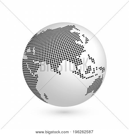Planet Earth globe with black squared map of continents Asia. 3D vector illustration with shadow isolated on white background.