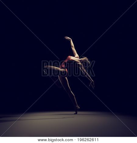 Young and beautiful gymnast in red suit. This is a 3d render illustration.
