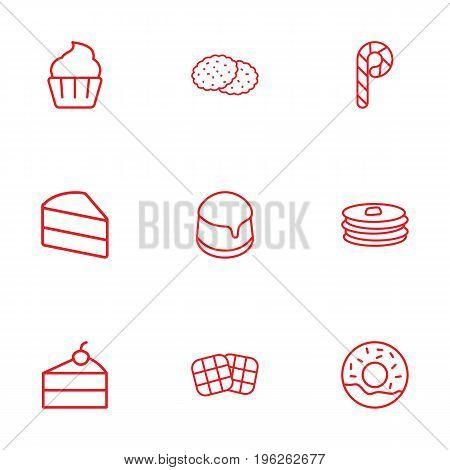 Set Of 9 Food Outline Icons Set