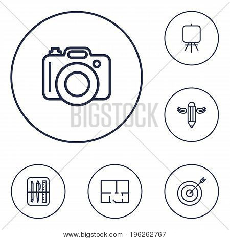 Set Of 6 Constructive Outline Icons Set