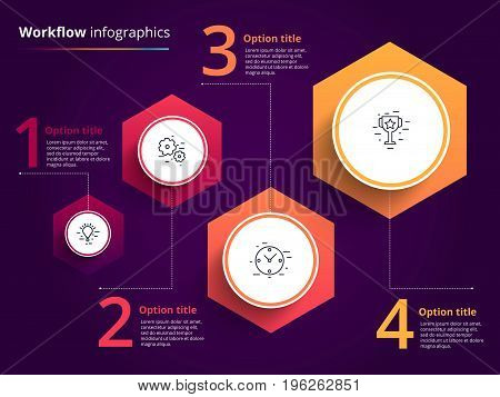 Business Process Chart Infographics With 4 Step Circles. Circular Corporate Workflow Graphic Element