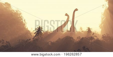 Brachiosaurus dinosaurs traveling through nature. This is a 3d render illustration