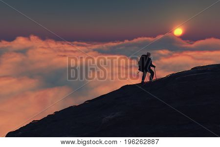 Man with backpack climbing a mountain in the evening. This is a 3d render illustration