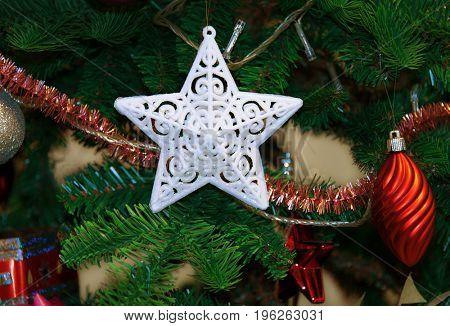 Christmas decoration -white star inside christmas tree