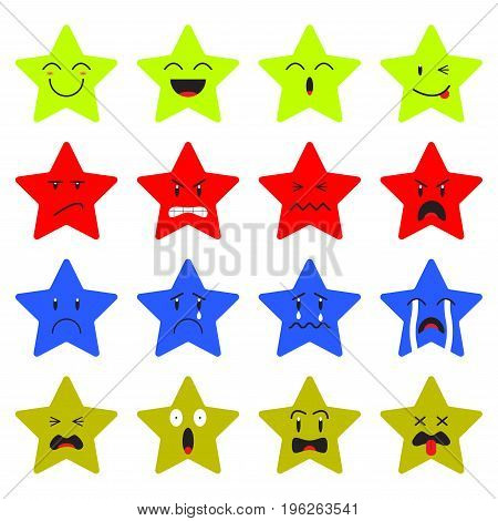 Cute Star Emoji on White Background Designed as 4 Groups Of Facial Expressions Happy Angry Sad Frightened. Useful For General Cartoon Face And Emotional Reaction.
