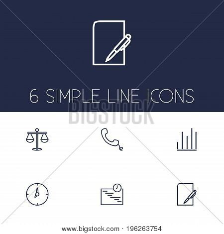Set Of 6 Management Outline Icons Set
