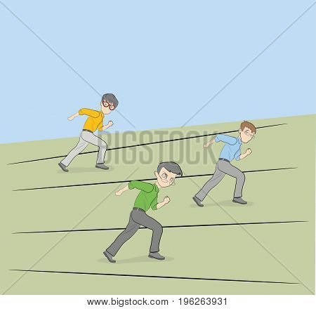 Businessmen run competing. Vector illustration for business and infographics.