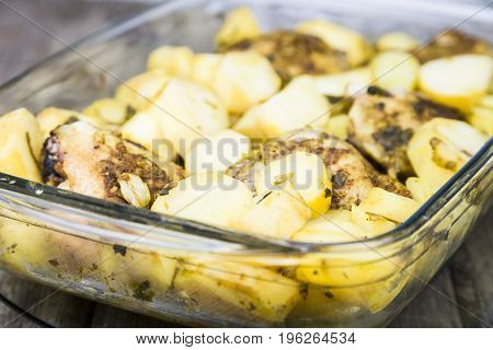 Potatoes With Chicken Baked In The Oven.
