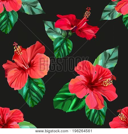 Red hibiscus tropical flowers seamless pattern. Vector illustration in eps10 format.