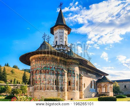 The Sucevita Monastery Romania. One of Romanian Orthodox monasteries in southern Bucovina.
