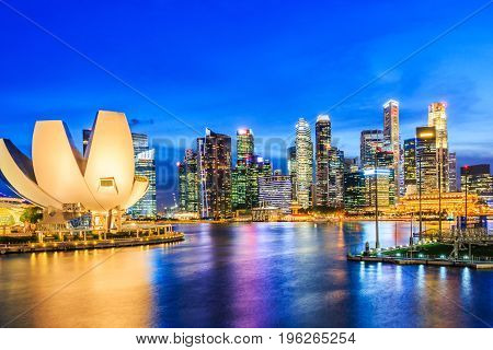 Singapore City Singapore.Singapore skyline and view of marina bay.
