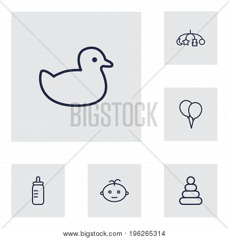 Set Of 6 Baby Outline Icons Set