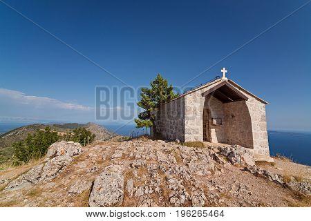 Old Stone Chapel On The Top Of Sveti Nikola Mount.
